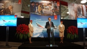 Hubert Frach, Emirates' Divisional Senior Vice President Commercial Operations West, speaking after the arrival of the airline's A380 in Los Angeles