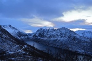 Snowy mountains surround the Senja fjord