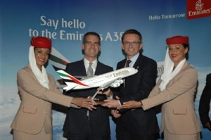 eric garcetti hubert frach 300x199 Los Angeles mayor Eric Garcetti and Hubert Frach, Emirates Divisional Senior Vice President Commerical Operations West, celebrate the arrival of Emirates A380 in LA