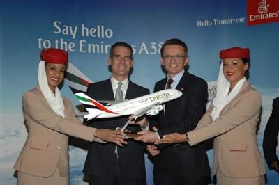 Los Angeles mayor Eric Garcetti and Hubert Frach, Emirates' Divisional Senior Vice President Commerical Operations West, celebrate the arrival of Emirates' A380 in LA