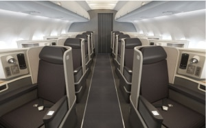 First class cabin on Airbus A321