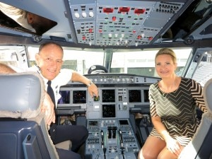 with captain John Lohmar, American Airlines Airbus 320 Fleet Training Manager, in the cockpit of the Airbus A321
