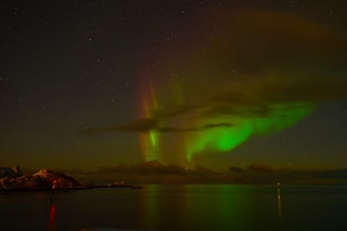 red yellow green northern light2 500x333 Winter Escape to Senja, Norway   Travel Feature