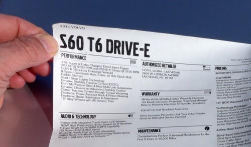 The monroney of the Volvo S60 T6 Drive-E
