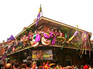 The whole town of New Orleans is decorated in purple, green and gold during Mardi Gras (Credit: Jenny Peters)