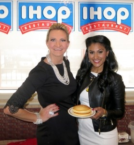 Nina Davuluri, Miss America 2014 with Sophie Gayot at IHOP Hollywood