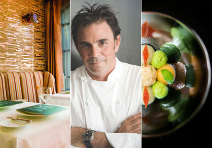 A look at some of GAYOT's Top 40 Restaurants: the dining room at Aubergine; chef Josiah Citrin of Melisse; king crab salad at Addison
