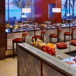 The open show kitchen at Waterfront Restaurant in Hyatt Regency Trinidad