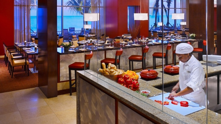 The open show kitchen at waterfront restaurant in hyatt regency trinidad gayot 39 s blog - Show picture of kitchen ...
