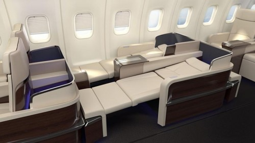 Seats in flatbed position on the Four Seasons private jet