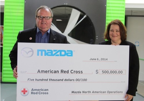 Mazda Check Presentation 06 06 14 MOD 500x350 Mazda of North America Donates $500,000 to the Red Cross