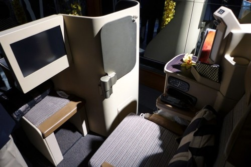 A business class seat on Etihad Airways