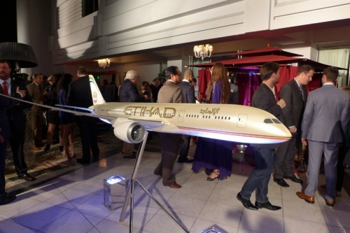 A model of an Etihad Airways Dreamliner