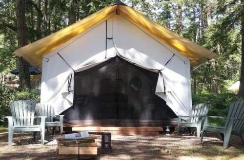 A luxurious tent at Lakedale Resort at Three Lakes on San Juan Island, Washington