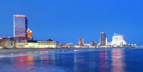 The Atlantic City waterfront from the sea