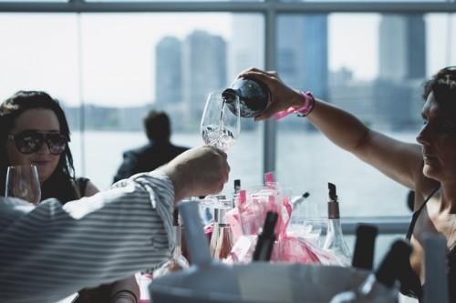 Guests sampling wines at La Nuit en Rosé in New York City