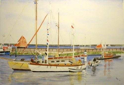 A watercolor of the famed harbor by artist Liz Sydenham
