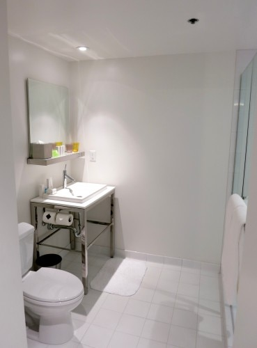 All in white bathroom
