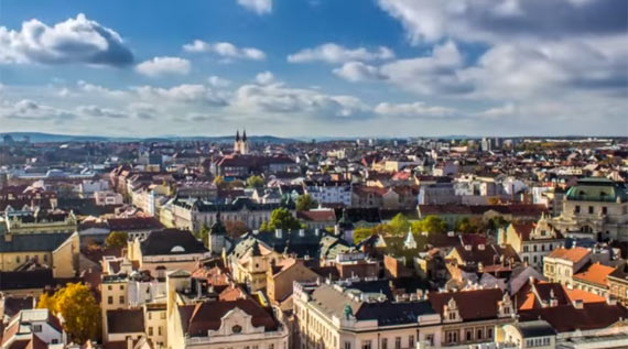The beautiful city of Pilsen in the Czech Republic