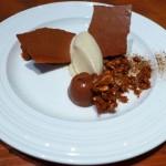 Dark Chocolate Crémeux, toasted hazelnut feuilletine and burnt vanilla bean ice cream