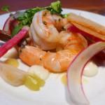 Shrimp Salad with lemon gel, turnip, citrus salt and brioche