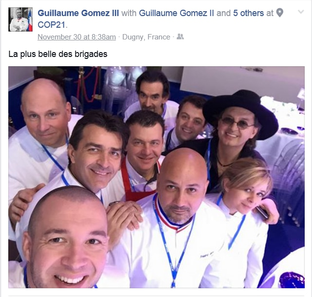 The team who prepared the inaugural lunch at the COP21