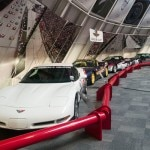 A row of Indianapolis 500 pace cars on display at the National Corvette Museum in Bowling Green, Kentucky
