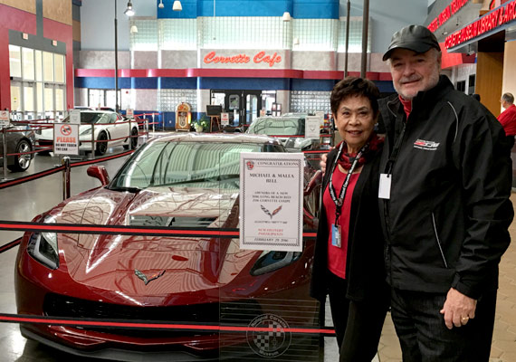 Mike and Malea Bell arrive at Bowling Green, Kentucky to pick up the Chevrolet Corvette Z06 in Long Beach Red
