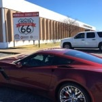 The 2016 Chevrolet Corvette Z06 parked in front a Route 66 museum marker