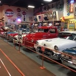 A row of cars on display at Russel's Filling Station