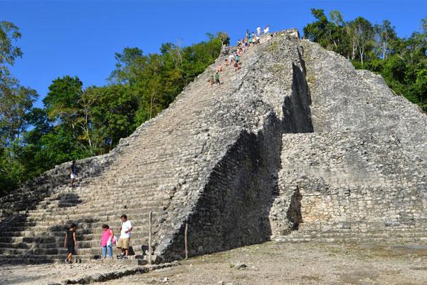 Visitors can climb the pyramids at Coba