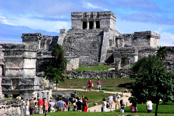 The ancient walled city of Tulum features structures dating back to 1200 A.D.