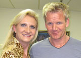 Gordon Ramsay with Sophie Gayot on the set of Hell's Kitchen