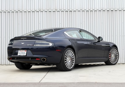 A three-quarter rear view of the Aston Martin Rapide S