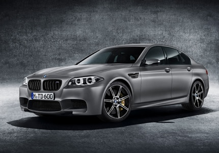 A three-quarter front view of the BMW M5