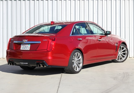 A three-quarter rear view of the 2016 Cadillac CTS-V Sedan RWD