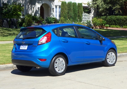 A three-quarter rear view of the Ford Fiesta SE, one of Gayot's Top 10 Fuel Efficient Cars