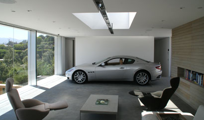 A Maserati parked in an award-winning garage in Los Angeles