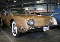 A three-quarter front view of a 1963 Studebaker Avanti