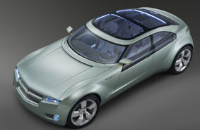 An aerial view of the Chevy Volt concept car