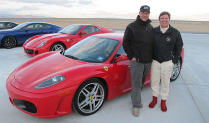 Alain Gayot and race car driver Didier Theys with the Ferrari F430