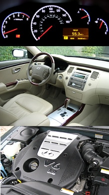 Interior and under-the-hood views of the 2006 Hyundai Azera Limited