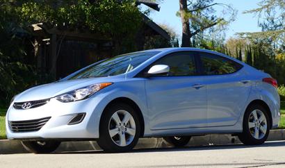 A three-quarter front view of a 2012 Hyundai Elantra
