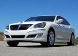 A three-quarter front view of a white 2011 Hyundai Equus