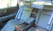 The spacious rear seating of the Hyundai Equus