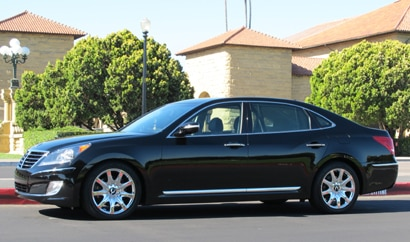 A side view of a black 2011 Hyundai Equus