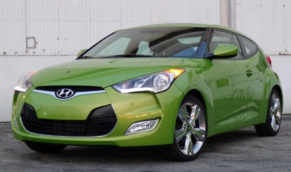 A three-quarter front view of the Hyundai Veloster