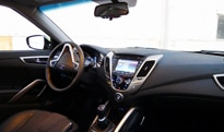 An interior view of the 2012 Hyundai Veloster