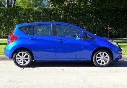 A side view of the 2014 Nissan Versa Note, one of GAYOT's Top 10 Hatchbacks