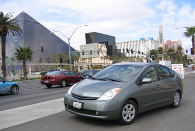 A three-quarter front view of a 2005 Toyota Prius in Las Vegas